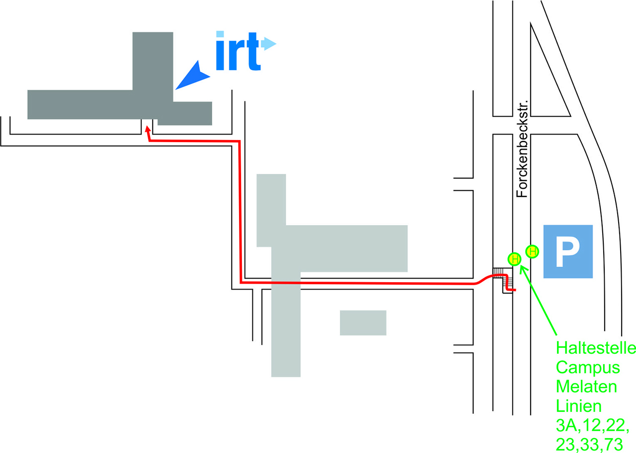 parking, bus stop and footpath to the IRT