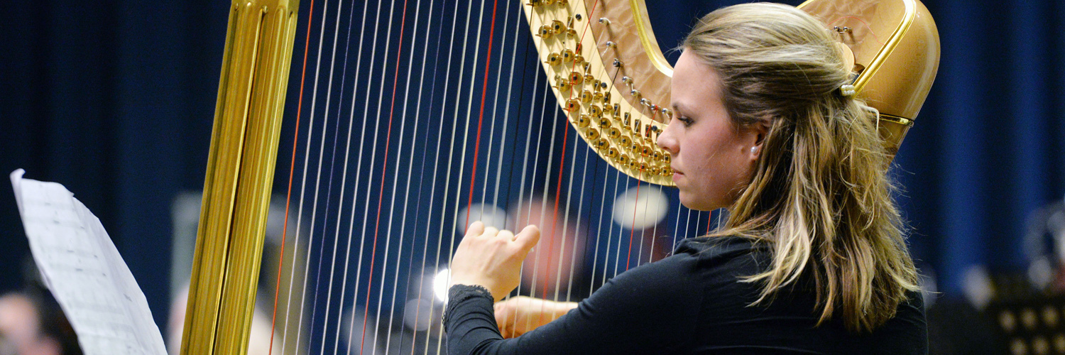 Woman playing a harp